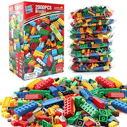 MDYYD Kids Wooden Building Blocks 2000 Pieces Toddler Educational Toy Classic Bricks Tight Fit and Compatible with All Brands for Montessori Color Red