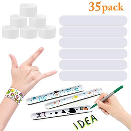 Slap Bracelets JUSTDOLIFE 35 Pack White Bracelet Band Party Favors Painting Pat Ring for Kids DIY School