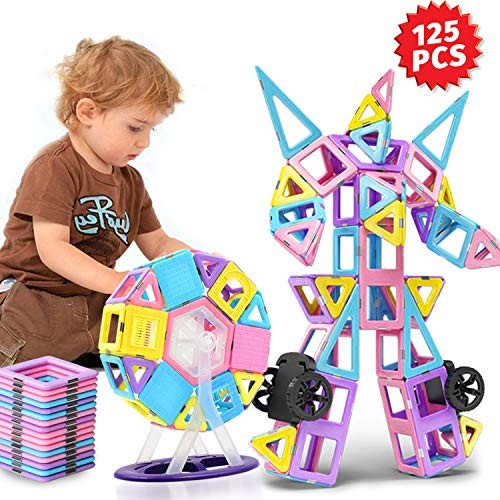 HOMOFY 125PCS Castle Magnetic Building Blocks Tiles for Kids Toddlers-Learning & Early Development Toys Year Old Gifts