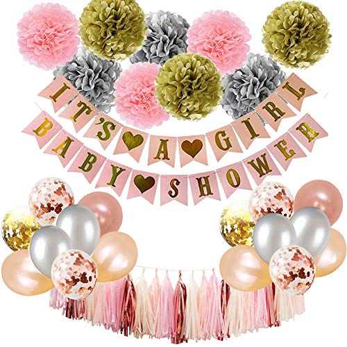Baby Shower Decorations Puchod It's A Girl Banner Girls with Rose Gold Confetti Balloons 100pcs Party Supplies Pink and Silver Champagne Paper Tissue Pom Poms
