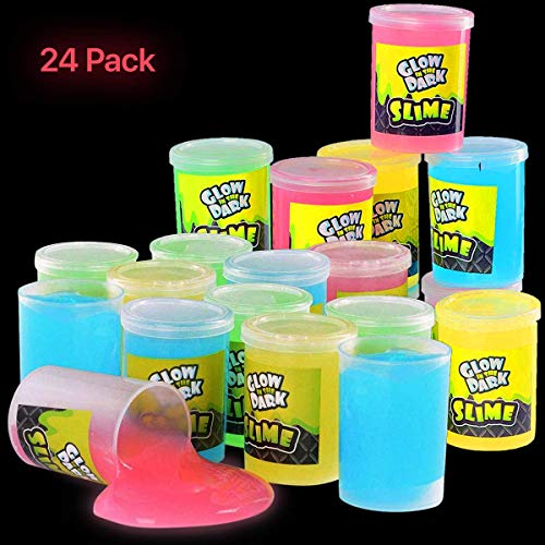 Kicko Glow in the Dark Slime – 24 Pack Assorted Neon Colors Green Blue Orange and Yellow for Kids Goody Bag Filler Birthday Non-Toxic