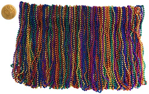 Mardi Gras Beads 33 inch 7mm 12 Dozen 144 Pieces Rainbow Assorted Color Necklaces with Doubloon