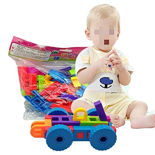 Tuuertge Toy Kids Wooden Building Blocks 46 Pieces Educational Toys Safe Material for Children Color Multi-Colored