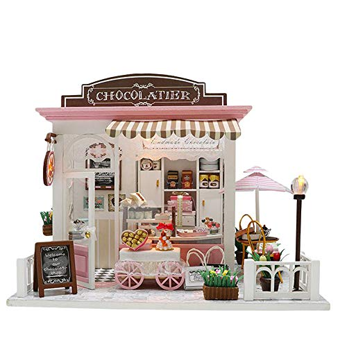 Gbell 3D Puzzle House Model Kits DIY Wooden Villa Dollhouse Handcraft Puzzles Miniature Accessories Playhouse Creative Box Castle Pretend Cottage Decorate Gift for Baby Boys Girls