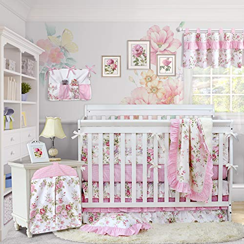 Brandream Baby Girls Crib Bedding Sets with Bumpers Blossom Blush Pink Watercolor Floral Nursery 11pieces
