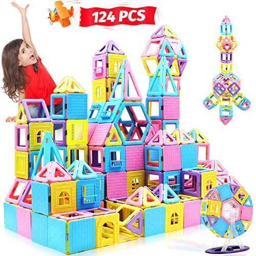 HOMOFY 124PCS Magnetic Building Blocks Magnet Tiles Early Educational & Development Toys for Years Old Gifts