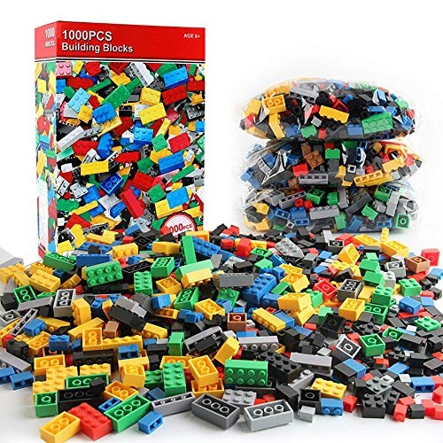 Toy Kids Wooden Building Blocks 1000 Pieces Bulk Bricks With Great Range Of Bright Colors Tight Fit And Compatible All Brands Ideal For Ed