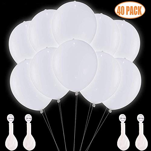 TECHSHARE LED Light Up Balloons White 40 Pack Glow in The Dark for Wedding Birthday Party Supplies Decorations – Can be Filled with Helium Air