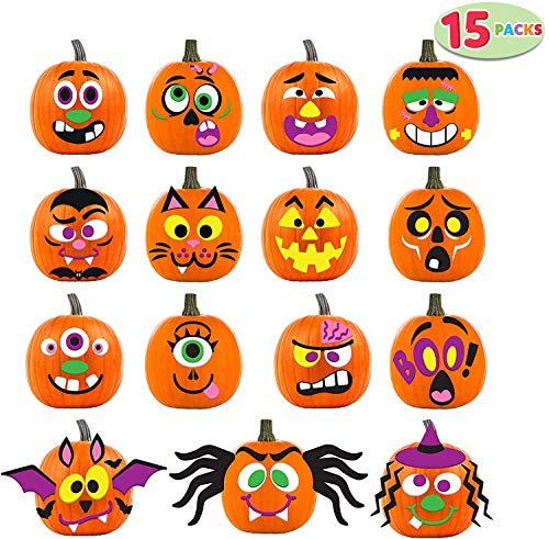 JOYIN 15 Packs Pumpkin Decorating Foam Stickers in Designs Halloween Party Supplies Trick or Treat Favors