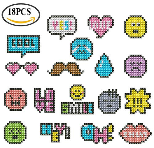 5D Diamond Painting Sticker Animal Arts Kits for Kids DIY Mosaic Cute Colorful Handwork and Crafts Set Children Beginner Adults Emoticon Mixed Serial Smile 18pcs