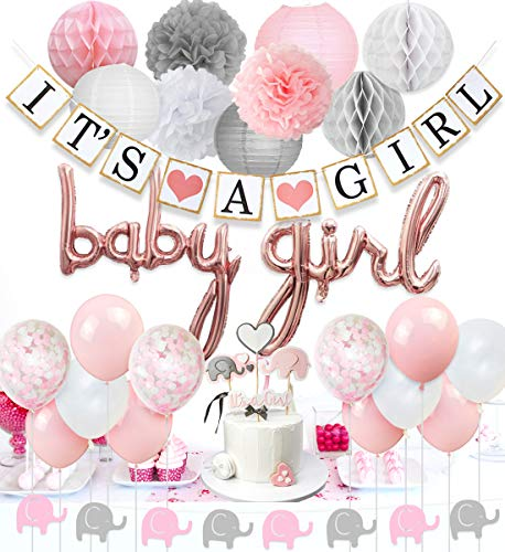 JOYMEMO Baby Shower Decorations for Girls Pink and White Girl Balloons Elephant Garland Confetti Cake Topper Supplies