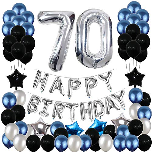 70th Birthday Decorations70 Balloons Party Supplies Happy Banner Blue and Silver Black for Women Men 81PCS
