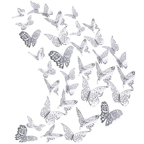 84Pcs Butterfly Wall Decals Sticker Decorations – 3D Metallic Hollow-Out AUHOKY Removable Mural DIY Home Decor for Kids Bedroom Living Room Party Wedding Vivid & Attractive Silver