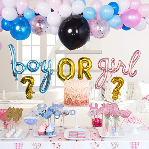 Gender Reveal Party Supplies Decorations for Boy Or Girl With Rose Gold Blue Foil Balloons Balloon Garland Decorating Strip 76 Assorted Pink Confetti Latex Photo Props Mommy to be Stash
