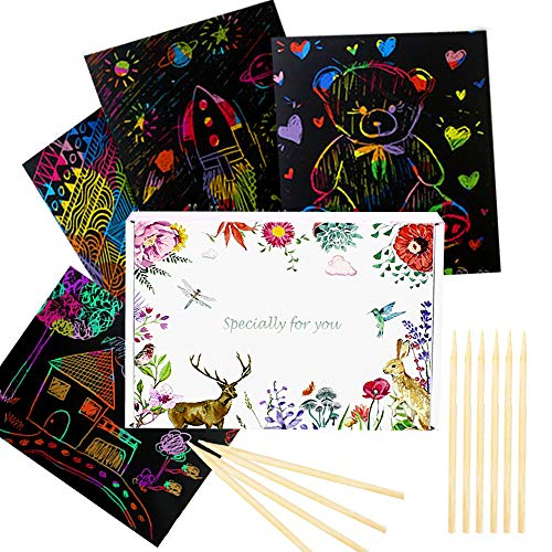 YUKKLY 100 Sheets Rainbow Scratch Paper with 10 Wooden Styluses; Art Paper; Arts & Crafts; Notes; Black Doodle Pad Background