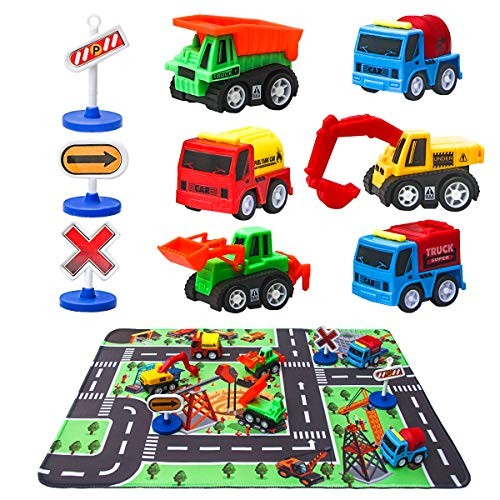 Construction Vehicle Toys with Play Mat 6 Construction Trucks 3 Road Signs 14 x