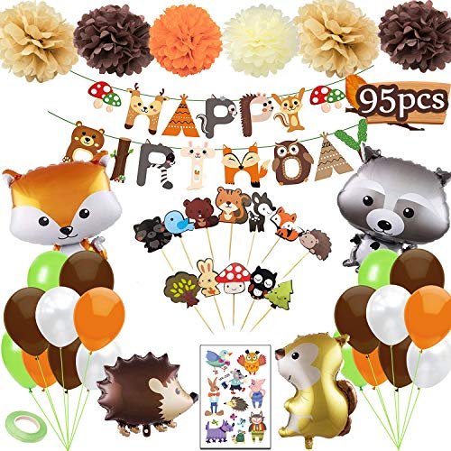 Funnlot Woodland Baby Shower Decorations 95PCS Party Supplies Including Happy Birthday Banners Balloons