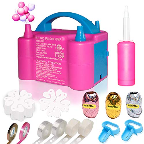 Gifts2U Balloons Pump Balloon Kit with Portable Dual Nozzle Handle Strip Decorating Glue Electric 110V 600W for Party Decoration Rose