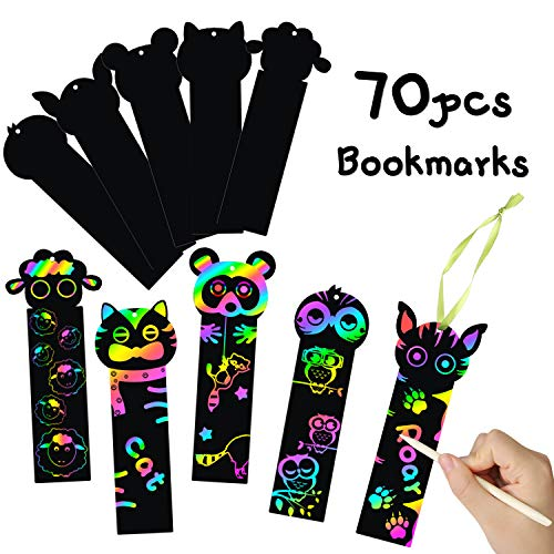 MALLMALL6 70Pcs Animal Scratch Bookmarks Rainbow DIY Hang Tags Party Favors Theme Birthday Classroom School Supplies Decorations Crafts Kit for Kids