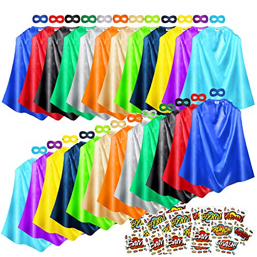 AIMIKE Superhero Capes and Masks 24 Sets Bulk Pack Kids Dress Up Costume for Birthday Party with Stickers