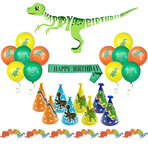 Dinosaur Themed Party Supplies Includes Happy Birthday Banner 8 Pcs Hats Sash 24 Cupcake Toppers And 12 Balloons Decorations for Kids