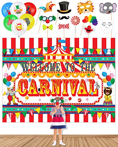 Circus Carnival Banner Backdrop20 Balloons 11 Photo Booth Props For Party Supplies Decorations