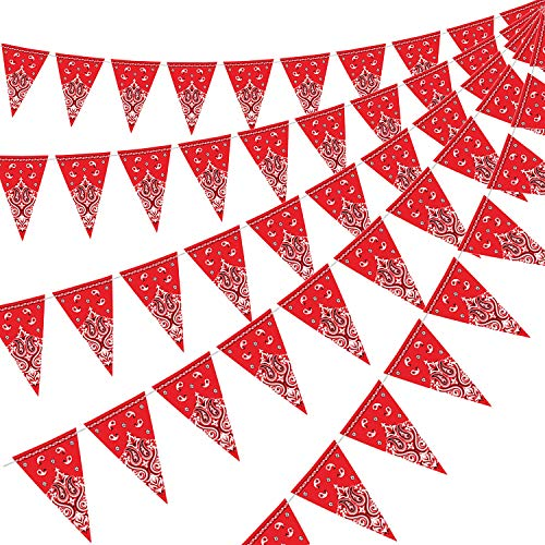 5 Pack Bandana Pennant Banner Wild West Party Accessory for Western Cowboy Themed Decoration 74 x 108 Inch