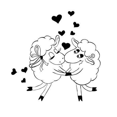 Wall Sticker Sheeps Animal Love Kiss Art Stickers Kids Bedroom Self Adhesive Vinyl Decal Hearts Nursery Room Decorate