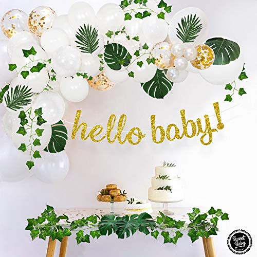 Sweet Baby Co Boho Fake Greenery Shower Decorations Neutral with Balloon Garland Arch Kit Oh Banner Green Ivy Leaf Vines Decoration Decor for Jungle Safari Woodland Backdrop Theme