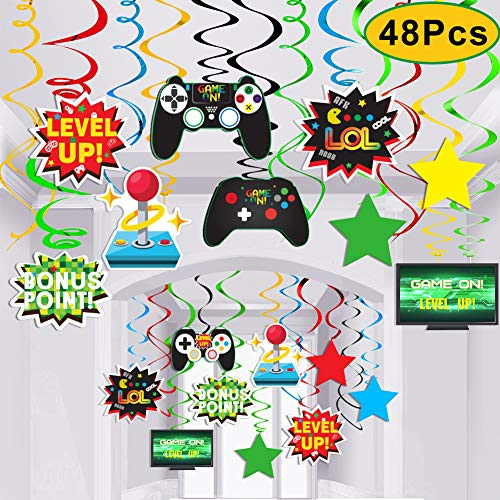 Video Game Party SuppliesVideo Decor Hanging Swirl Decorations for Birthday Supplies Decorations-48PCS