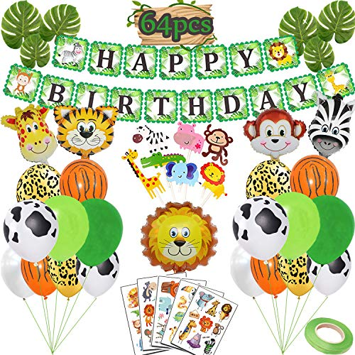 Funnlot Jungle Theme Party Supplies Safari Decorations Include Happy Birthday Banner Animal Balloons Cupcake Toppers Tattoos Palm Leaves for