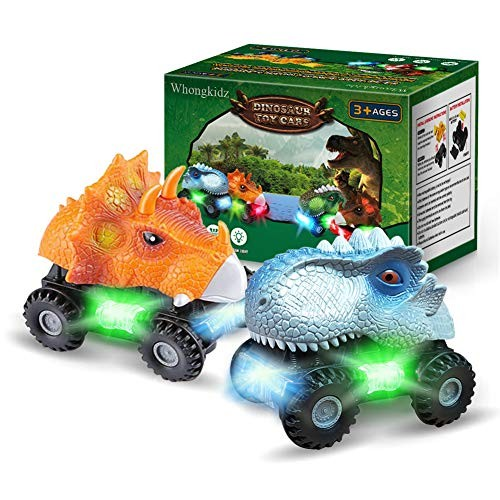 WhongKidz Dinosaur Toy Cars 2 Pack Kids Toys Dino Car with Lights and Sounds