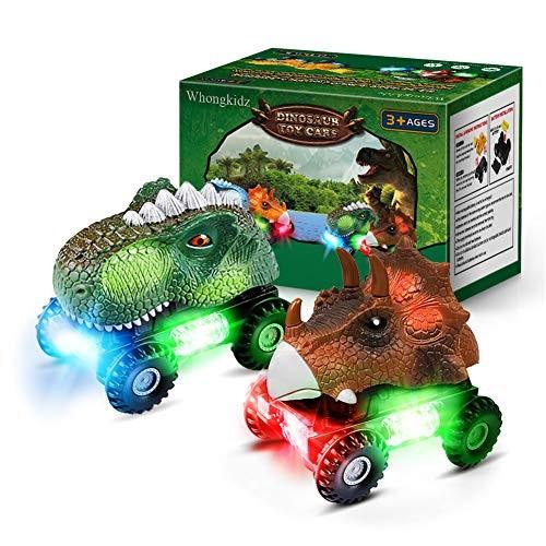 WhongKidz Dinosaur Toy Cars 2 Pack for Toddler Kids Toys Dino Car