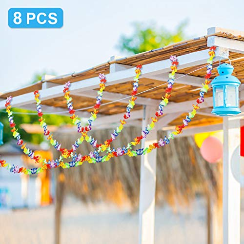 Ecore Fun 8 PCS 10ft Luau Party Supplies Decorations Hawaiian Tropical Flower Banner for Summer Theme Wedding Decoration