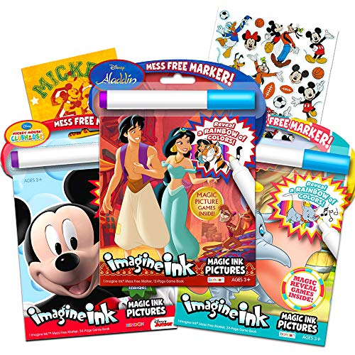 Disney Coloring Book Imagine Ink Super Set ~ 3 No Mess Magic Activity Books Featuring Aladdin Mickey Mouse and Dumbo with Stickers