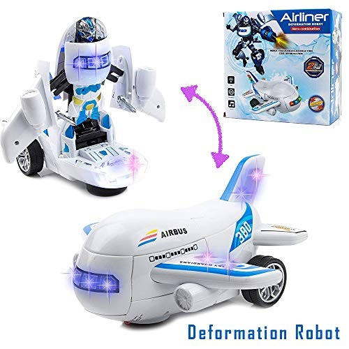 Toysery Deformation Airplane Toy Robot Battery Operated Toywith Colorful LED Light and Realistic Sounds Bump Go Action Perfect Birthday for Kids