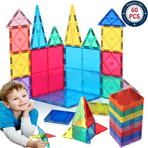 HOMOFY Kids Magnet TilesToys 60Pcs Oversize 3D Magnetic Building Blocks Tiles SetInspirational Educational Toys for Year Old Boys Gilrs Gifts