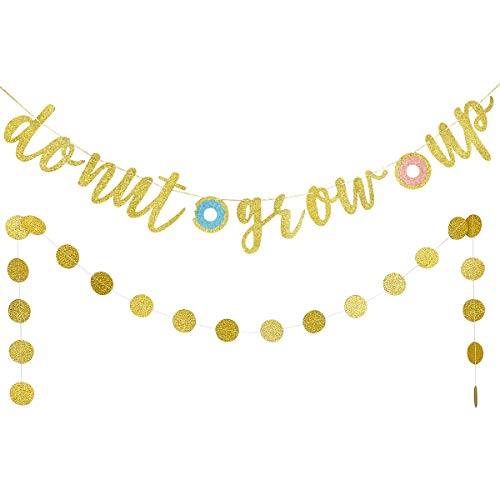 Gold Glittery Donut Grow Up Banner and Circle Dots Garland- Happy Birthday Baby 1st Party Decoration Bunting Photo Props