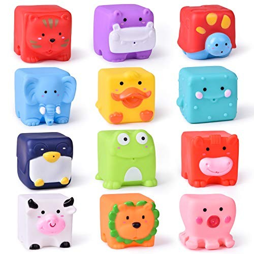 FUN LITTLE TOYS Kids Bath Soft Cube Squirters Squeeze Water Building Blocks for 12 Pieces
