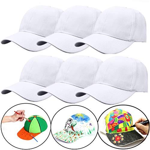 SUSHAFEN 6Pcs White Hand-Painted Baseball Cap Adjustable Size No