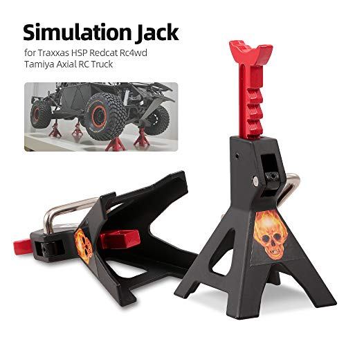 Walmeck- 2pcs Simulation Metal 6 Ton Jack Stand Adjustable Height Decorate for Traxxas HSP Redcat Rc4wd D90 Tamiya Axial Scx10 Hpi