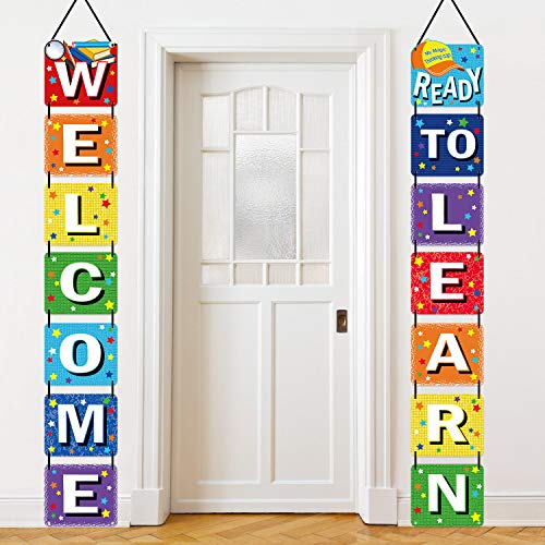Back to School Banner Welcome for First Day of Ready Learn Classroom Party Supplies Photo Props Kindergarten Pre-school Primary High Decorations