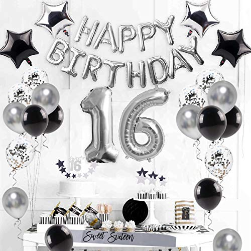16th Birthday Decorations Supplies Silver Sweet 16 Party Number Balloon Happy Banner Cake Topper Latex Confetti Star Sash for BOY Girl Years Old