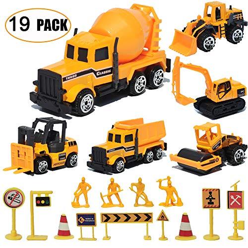 19 Pack Construction ToysMini Diecast Cars Play Sets DumperBulldozersForkliftTank TruckAsphalt CarExcavatorEngineering WorkerConstruction Traffic Sign Set Toy for Kids Boys and Girls