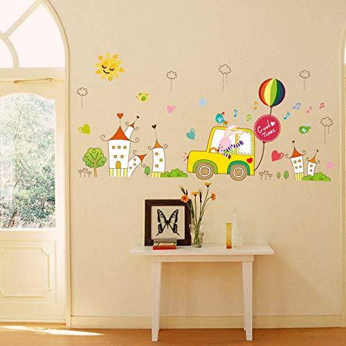 weilaike Cute Bunny Driving City Travel Children's Room Cartoon Wall Sticker Baby Bedroom DIY Detachable Decorate Decoration 70 x 144Cm