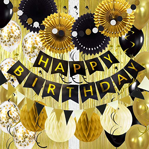 Air Fit Gold Birthday Party Decorations Set Pack Supplies with 2 x Foil Curtains Happy Garland Banner Bunting 52 Pieces