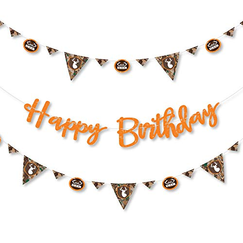 Big Dot of Happiness Gone Hunting – Deer Camo Birthday Party Letter Banner Decoration 36 Cutouts and Happy Letters