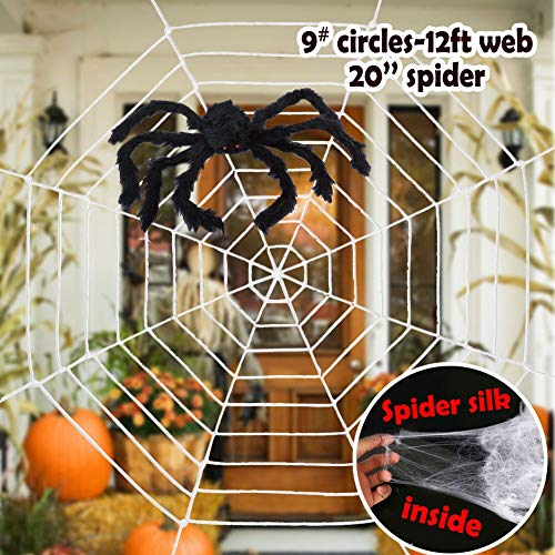 ESSENSON Halloween Decorations – 12 FT Giant Round Spider Web and Fake Large Hairy Props Scary Yard Door & Outdoor Decor with Super Stretch Cobweb Party Favors