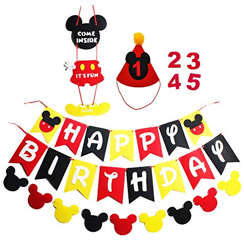 Mickey Mouse Party Supplies Kits Happy Birthday Banner Garland Hat and Welcome Hanger for Baby Kids Shower Theme Parties Decoration