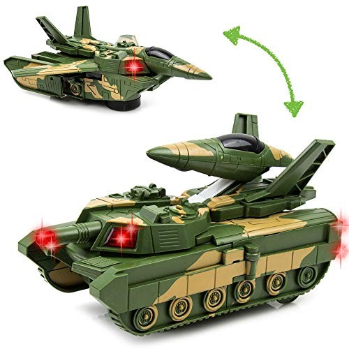 Toytykes Electric Deformation Combat Tank Material Comes with Lights and Music Automatically Transforms from The to Robot Brain Development Ultimate Fun for Kids